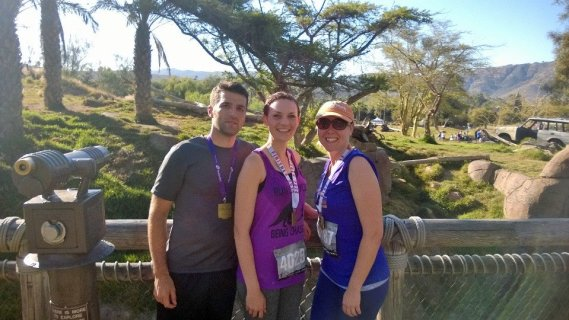 Safari Park 10K with husband Nathan and my sister Beth