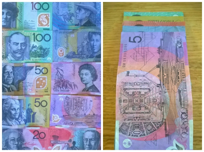 Australian Currency: so pretty!  Note the see-through parts and the different lengths