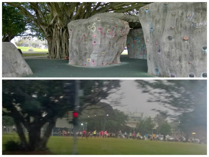 Top: the rock climbing wall Bottom: free zumba class in the park, there were sooo many people