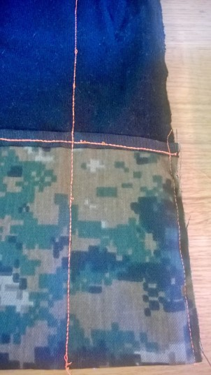 First pocket divider sewn