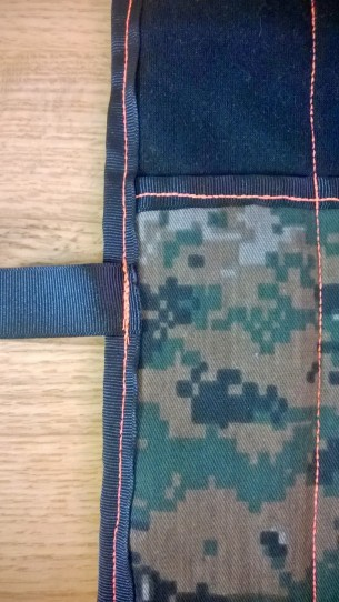 Ribbon sewed on to create a strap