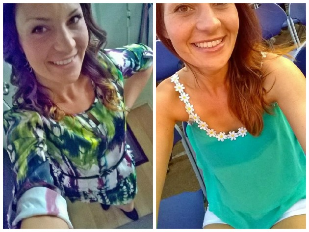 "Differences in Dress: On the left is my ""work appropriate"" outfit- dress that goes to my knees, high neckline, long sleeves, small heeled booties.  On the right is my ""every day"" look I wore to a concert- short white shorts, a semi-sheer spaghetti strap shirt, and not pictured, brown cowboy boots."