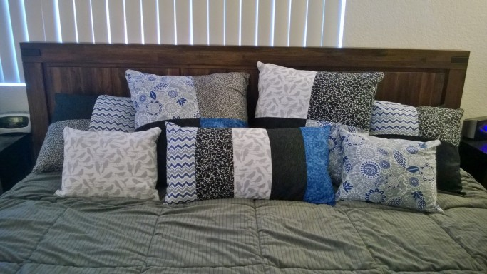 Finished product, many pillows on the bed