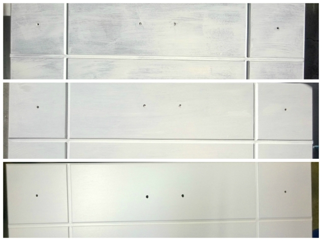 Progression of paint coats: top=first coat, middle=second coat, bottom=third coat, final picture=fourth coat